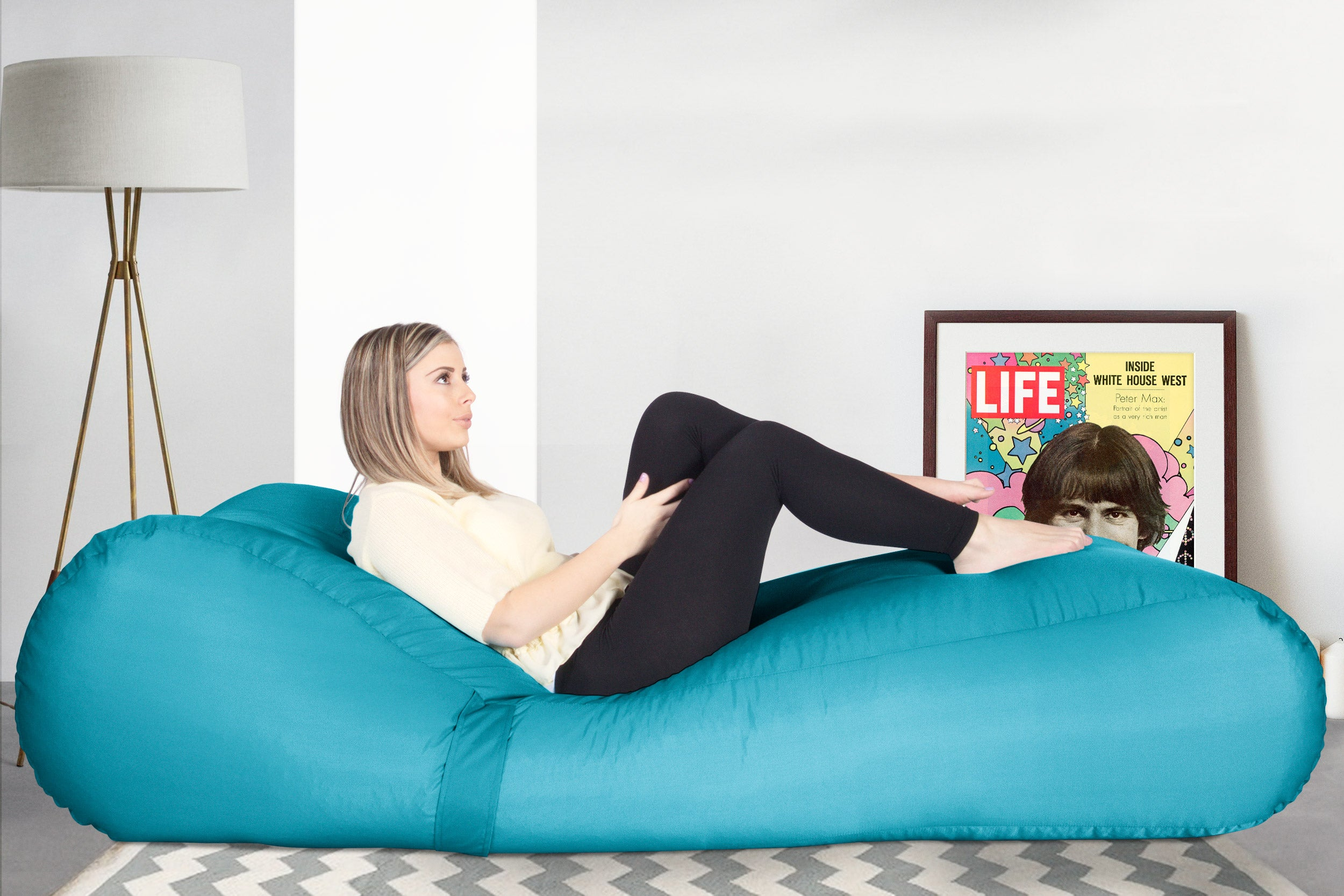 SmartCanvas™ Chaise Bean Bag - Aqua