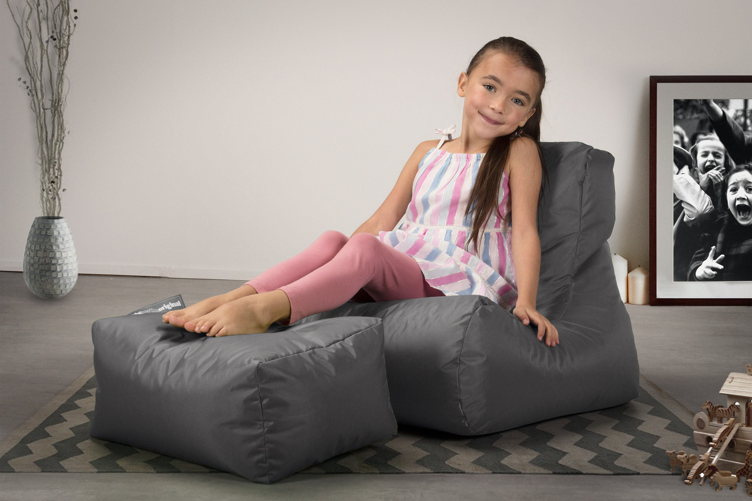 SmartCanvas™ Childrens Lounger Bean Bag - Graphite