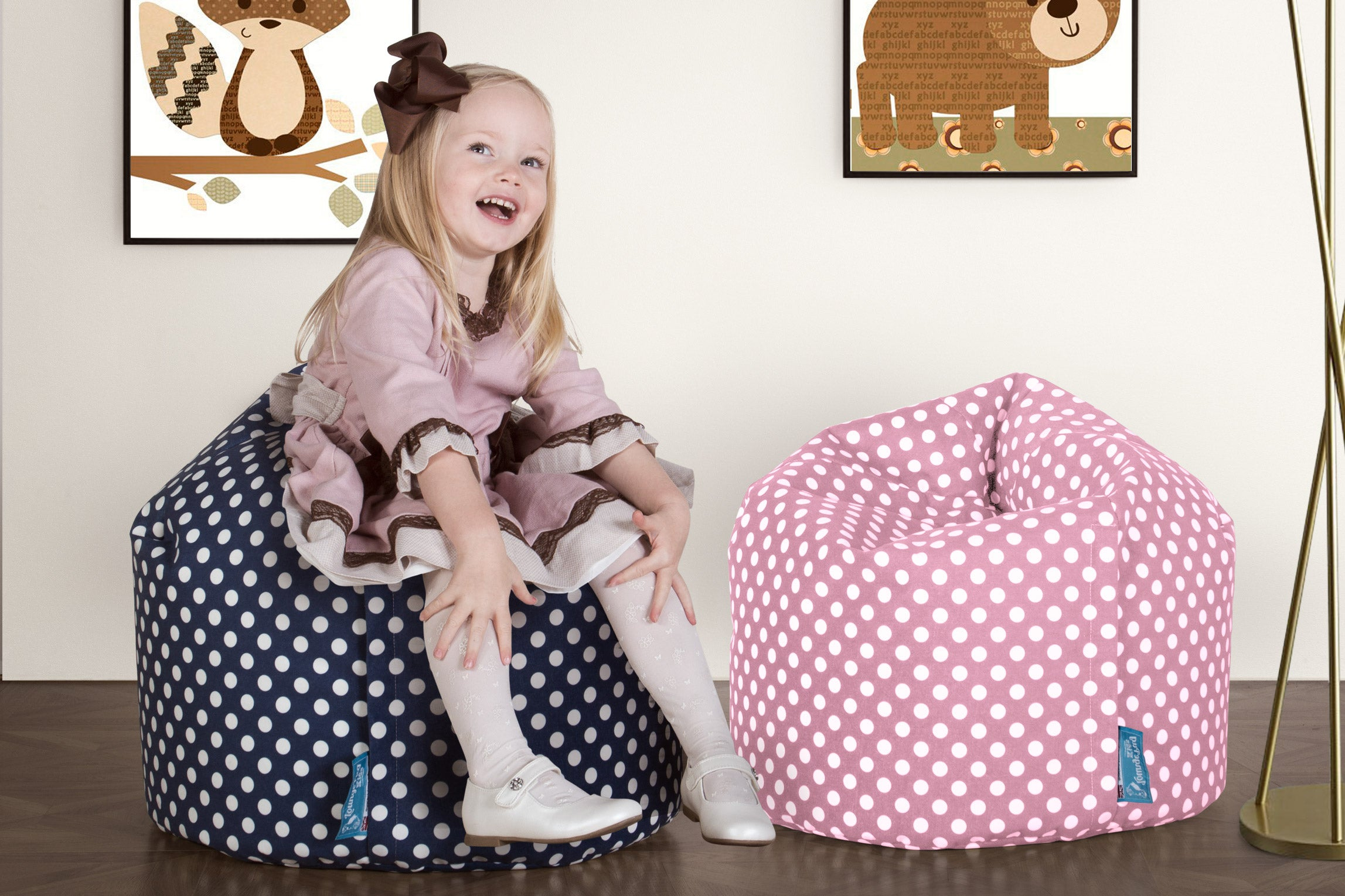 Childrens Bean Bag - Print Pink Spot