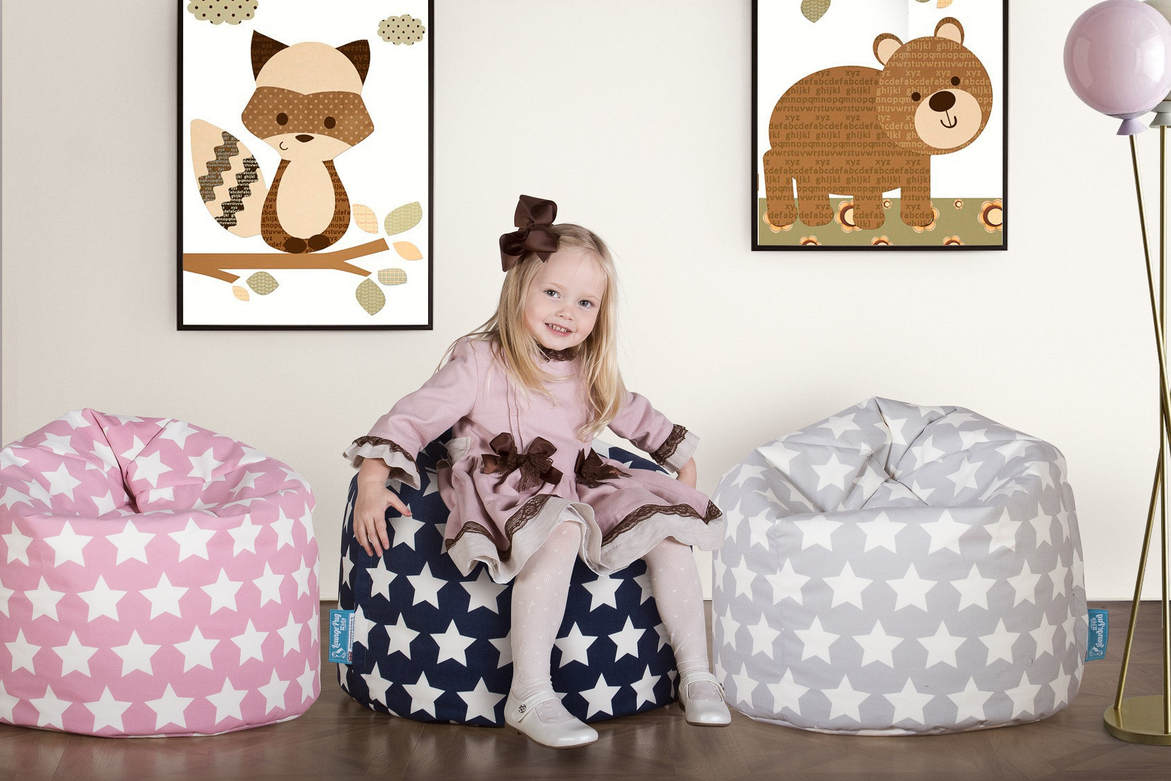 Childrens Bean Bag - Print Pink Star