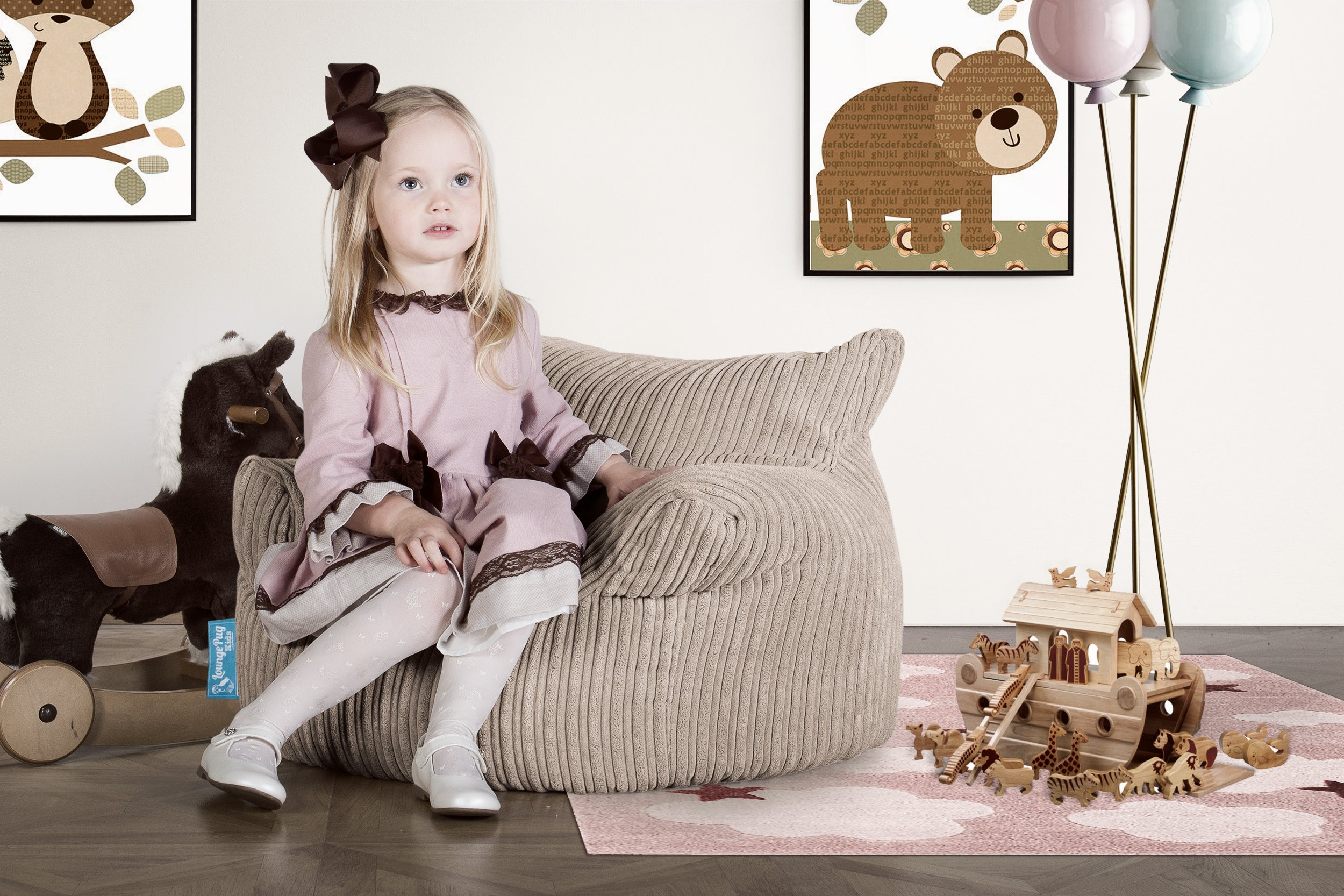 Childrens Armchair 3-8 Years Bean Bag - Cord Mink