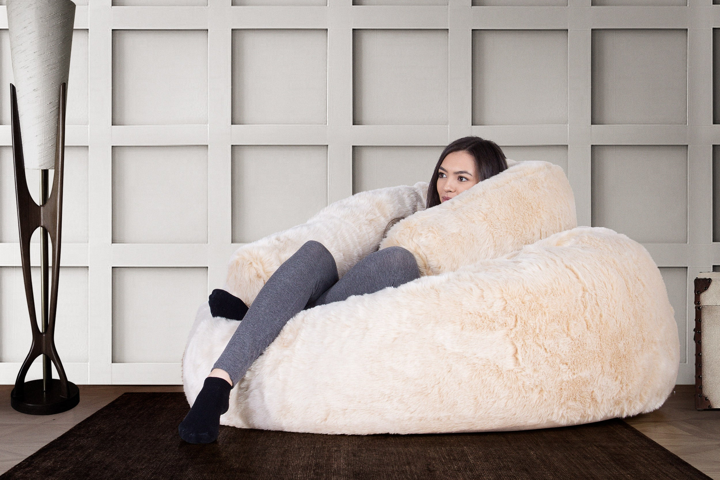CLOUDSAC Bolster - Faux Fur White Fox