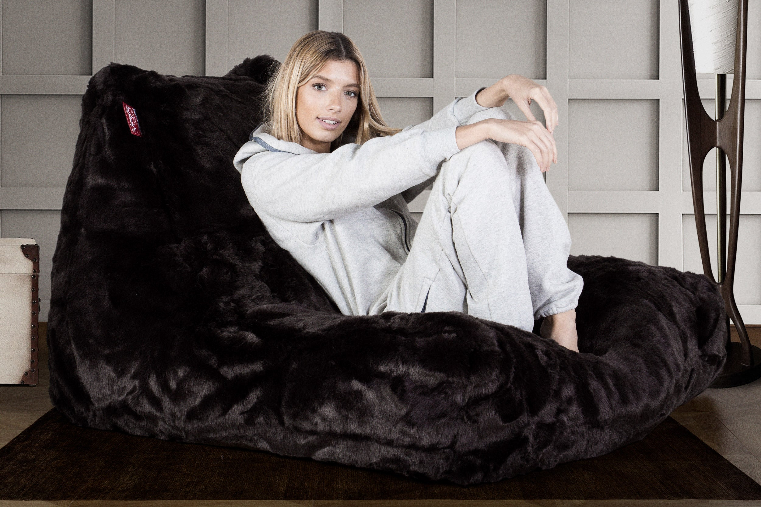 Mega Lounger Bean Bag -  Faux Fur Brown Bear