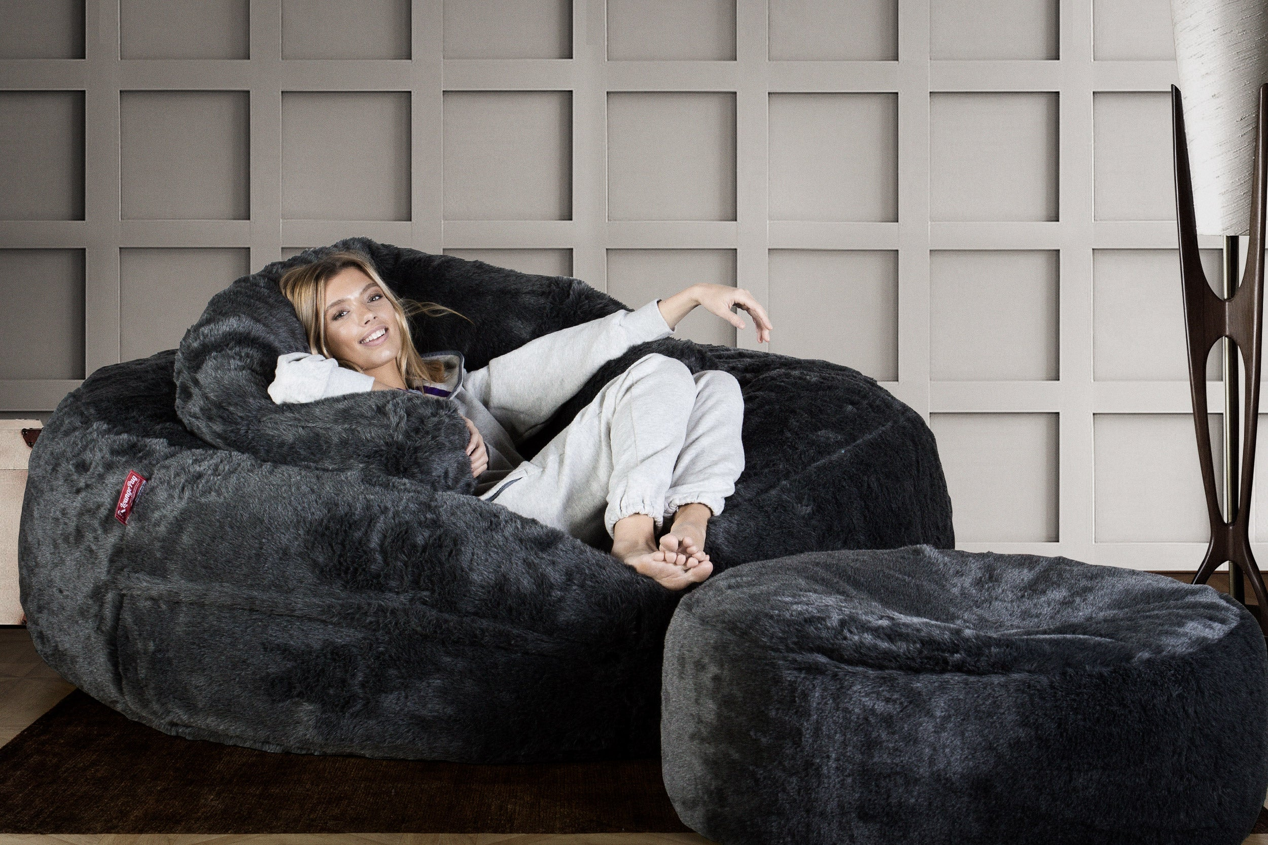 Mega Mammoth Bean Bag Sofa - Faux Fur Badger Black