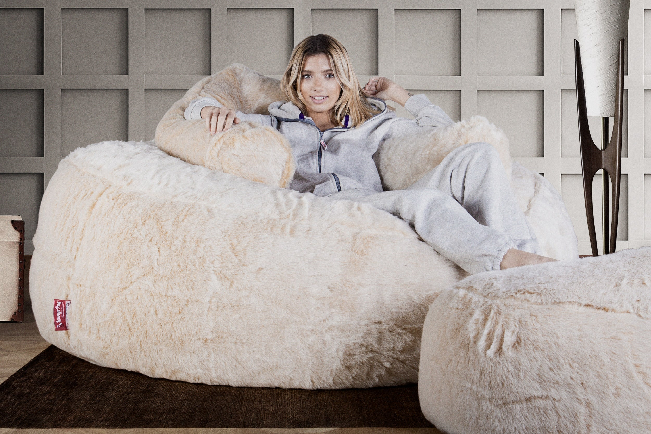 Lounge Pug Cream Giant Bean Bag Sofa Mega Mammoth Beanbag