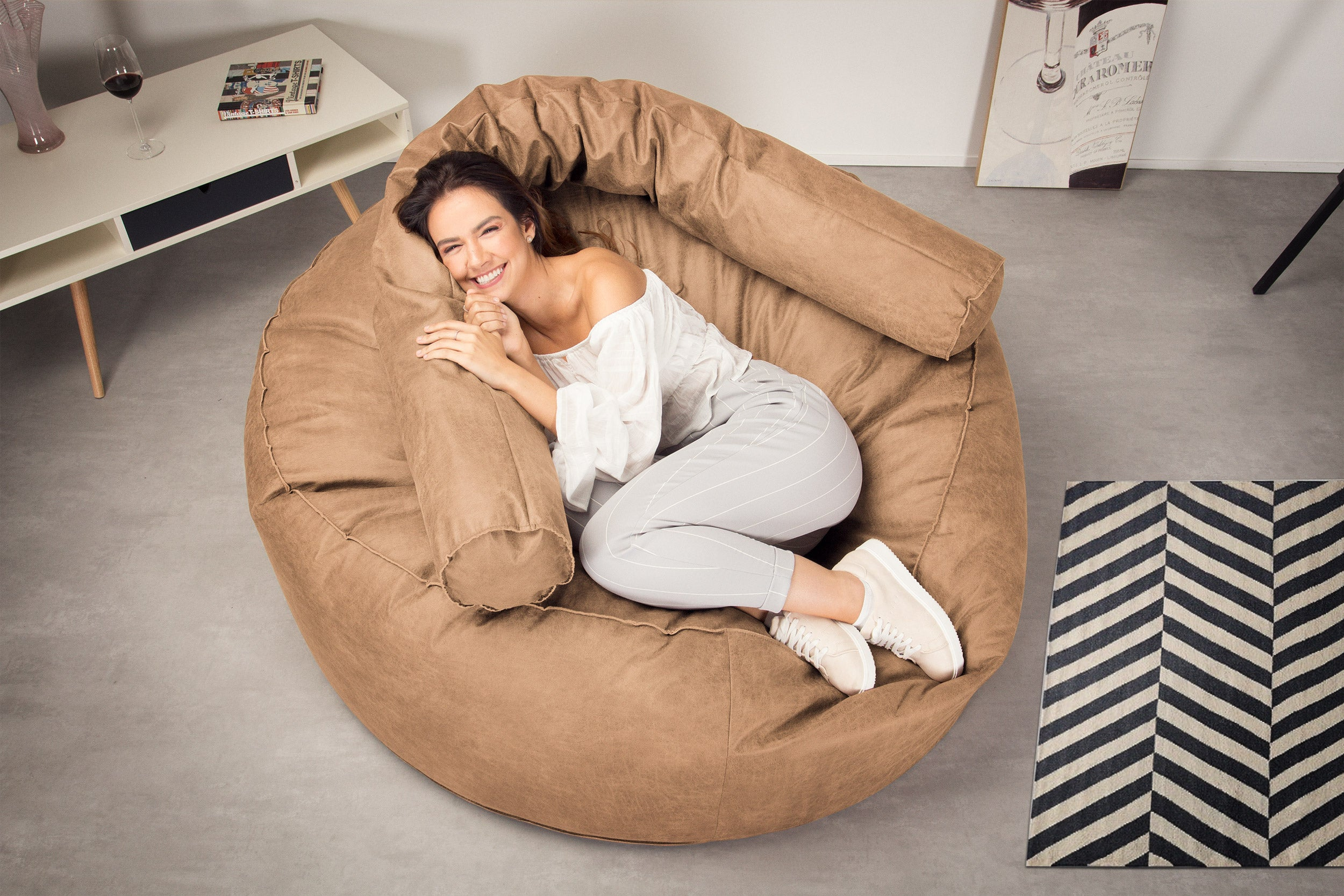 Mega Mammoth Bean Bag Sofa - Distressed Leather Honey Brown