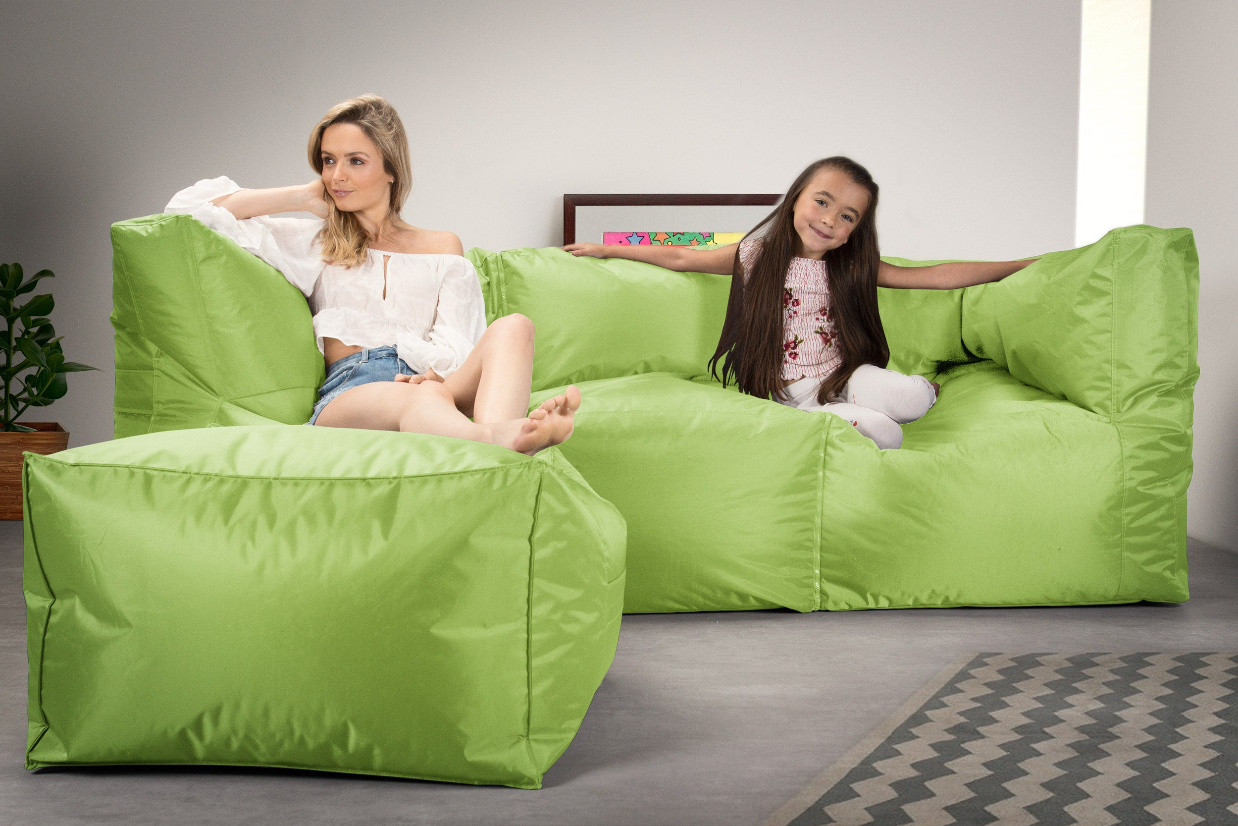 SmartCanvas™ 2 Piece Modular Sofa Bean Bag - Lime