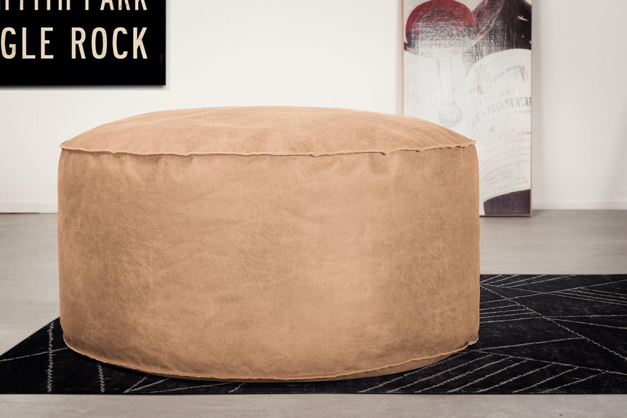 Large Round Pouffe - Distressed Leather Honey Brown