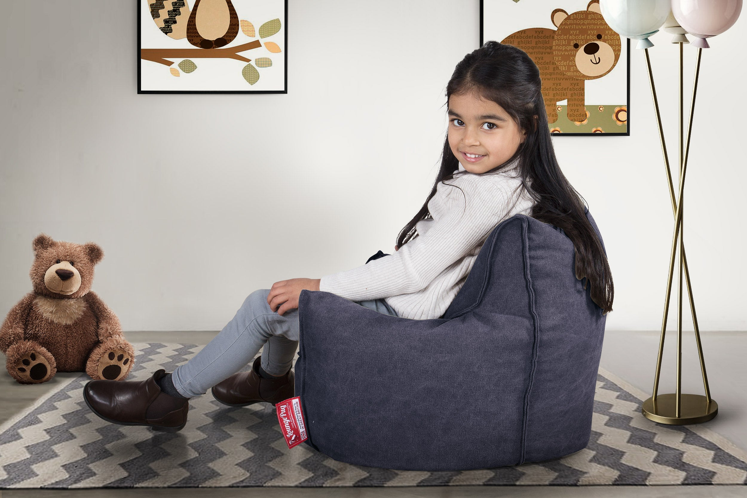 Childrens Toddler Armchair Bean Bag - Denim Navy