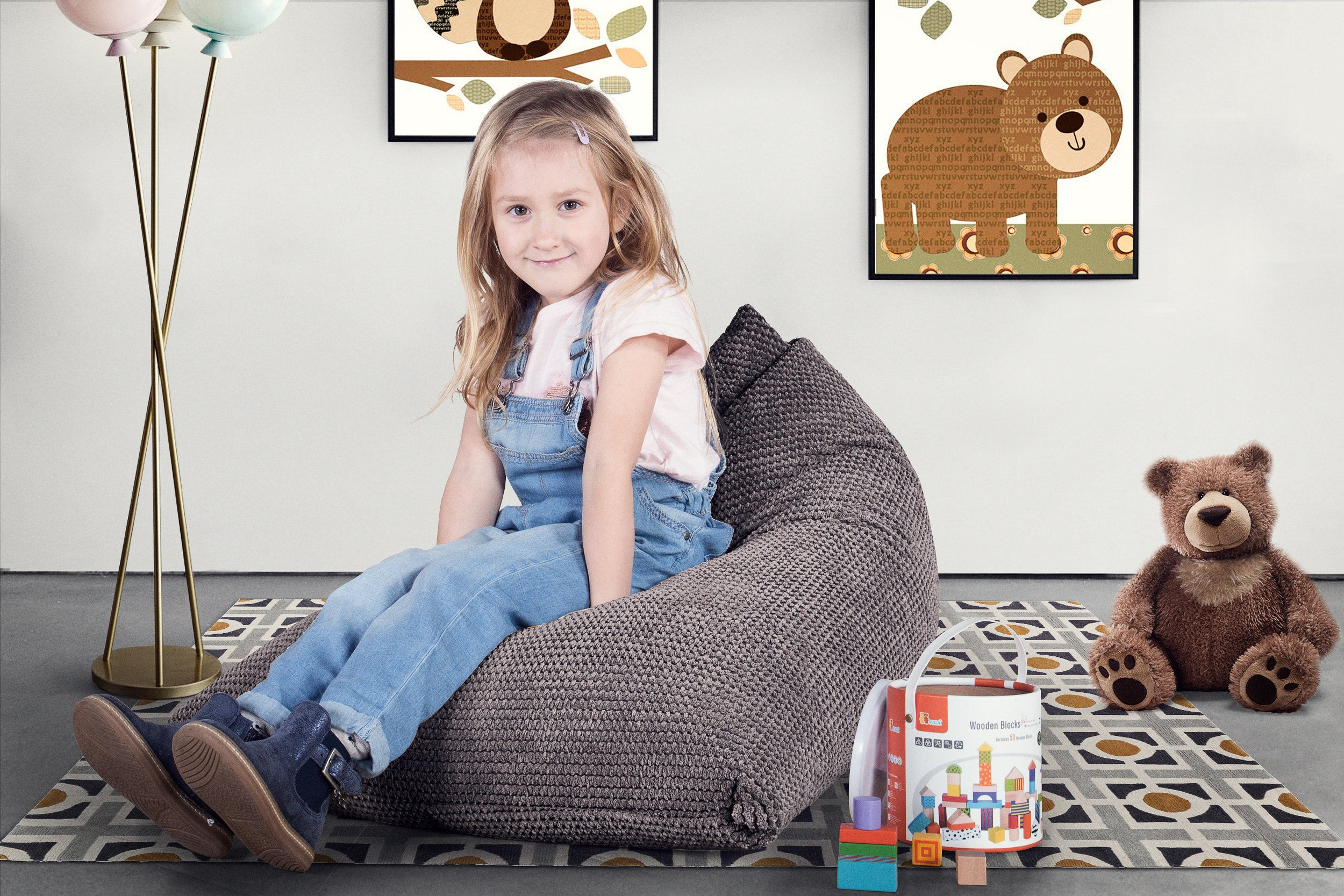 Childrens Bean Bag Lounger - Pom Pom Charcoal Grey
