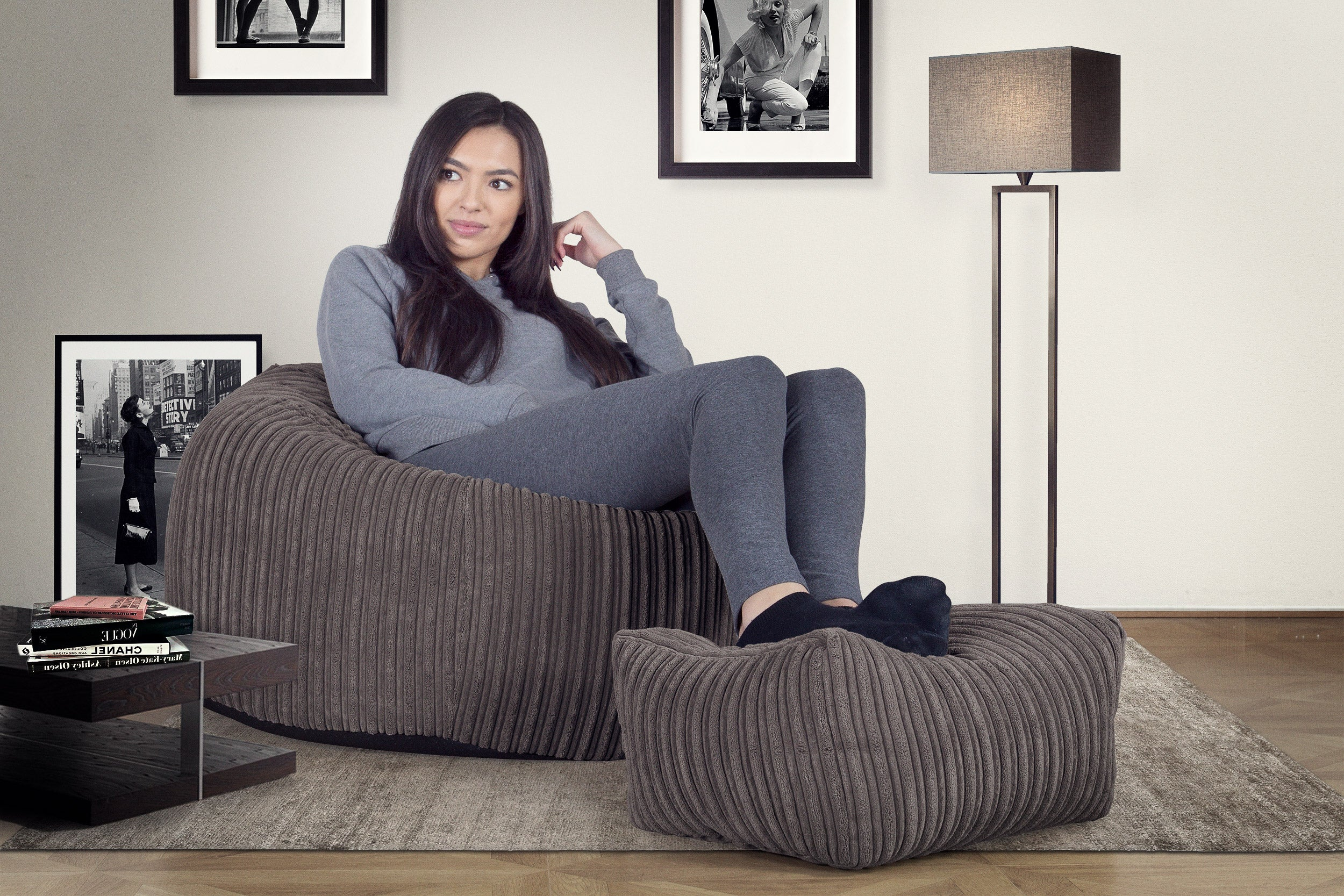 Classic Bean Bag Chair - Cord Graphite Grey