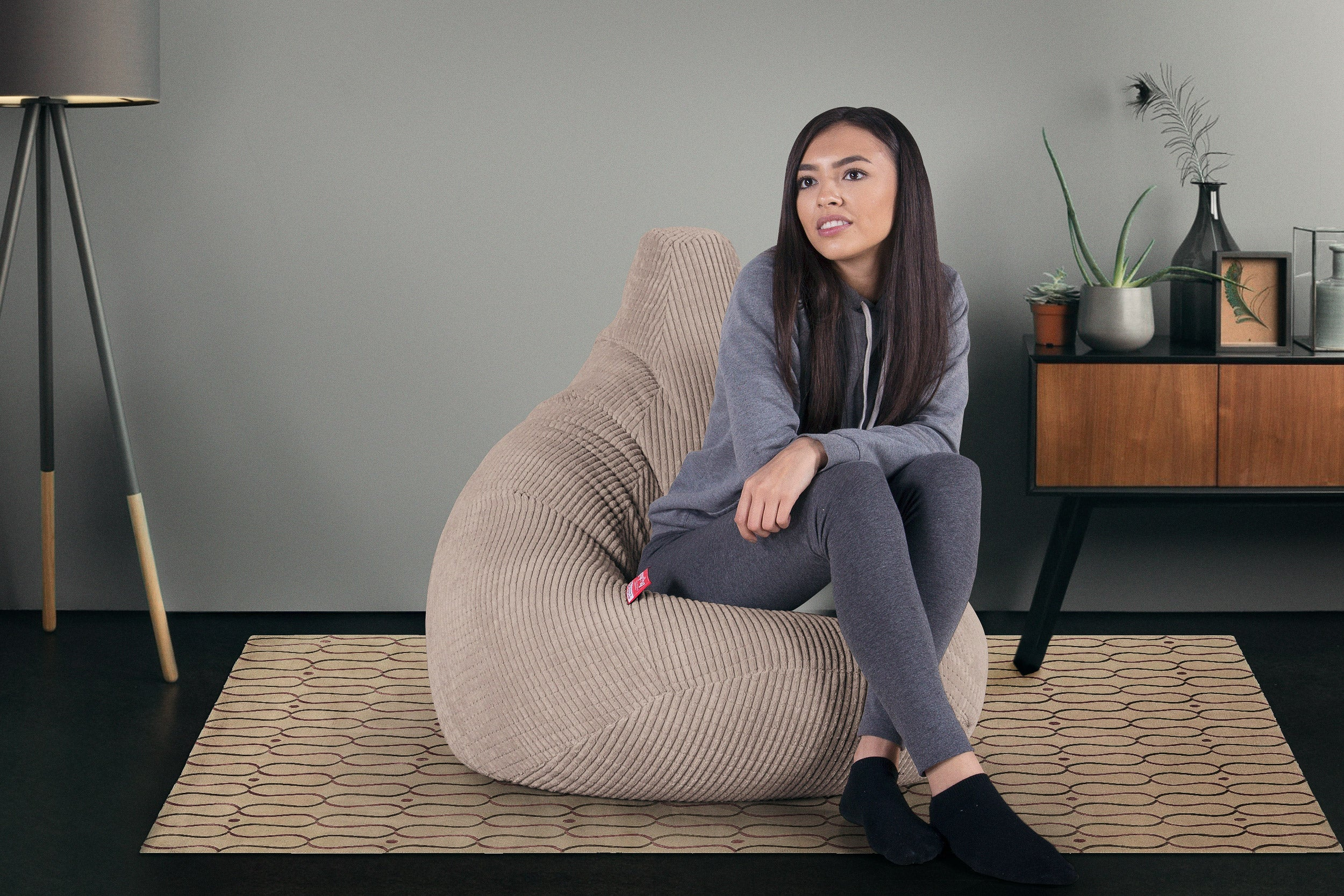 Highback Gaming Beanbag Chair - Elements Mink