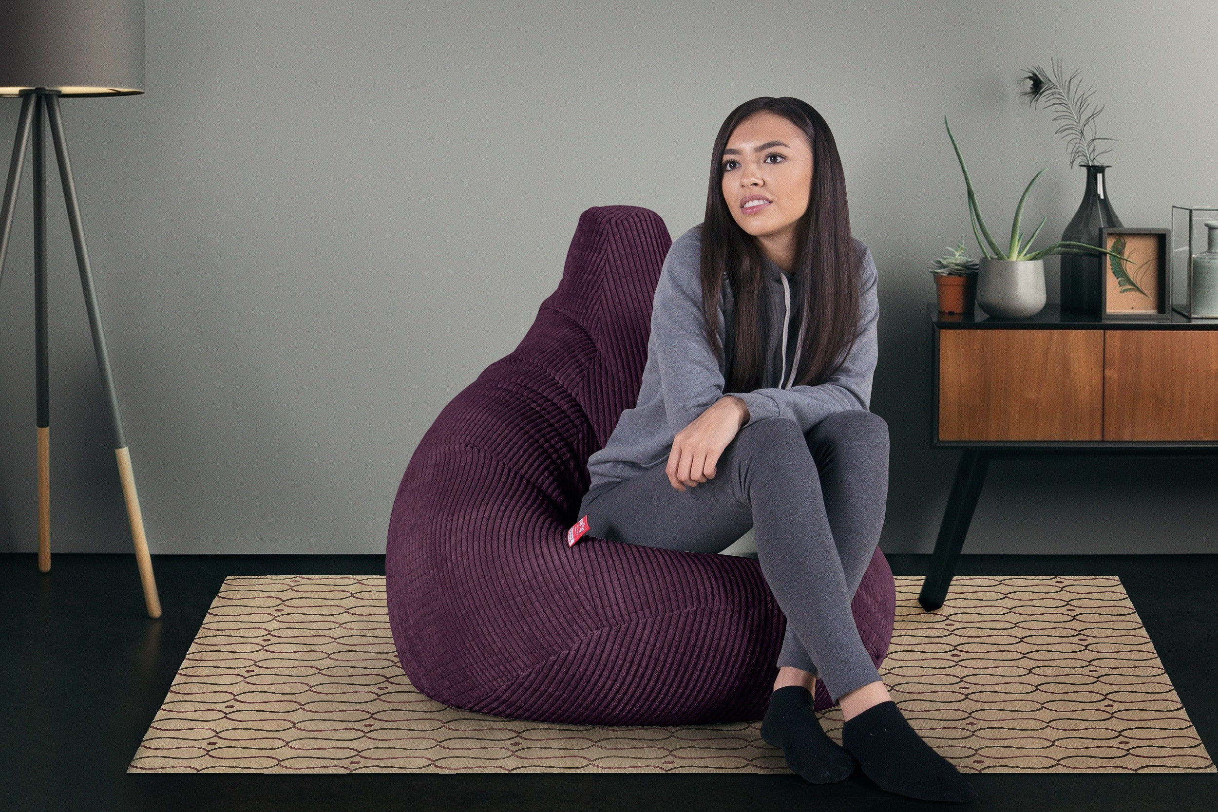 Highback Gaming Beanbag Chair - Elements Purple