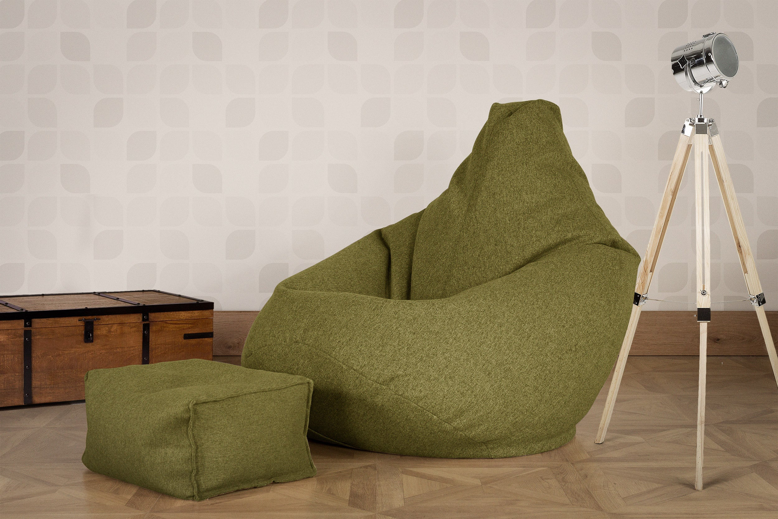 Small Footstool - Interalli Lime Green
