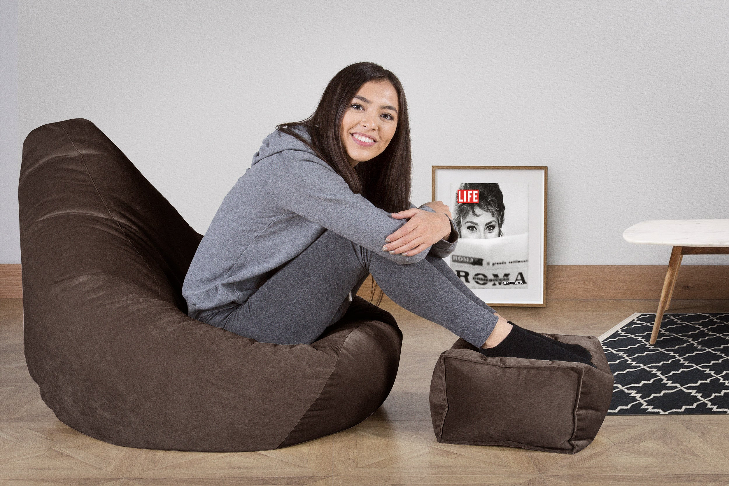 Pouf Fauteuil Gamer - Velours Anthracite