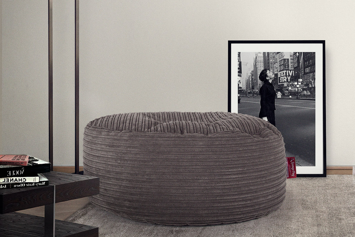 Large Round Pouffe - Cord Graphite Grey