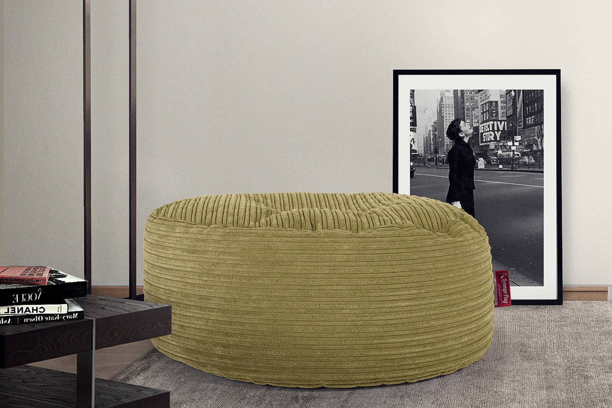 Large Round Pouffe - Cord Lime Green
