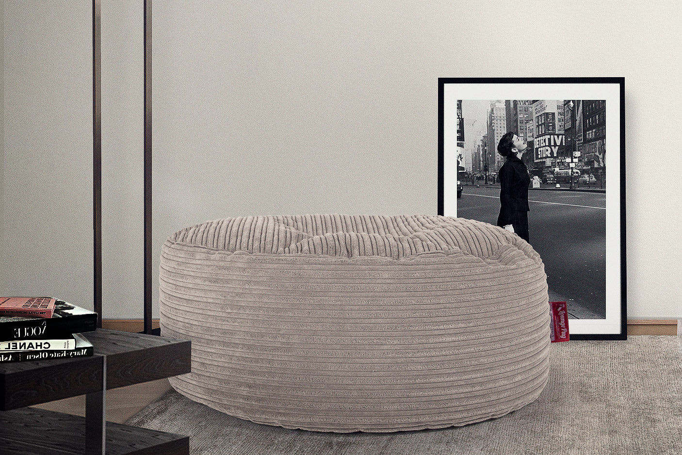 Large Round Pouffe - Cord Mink