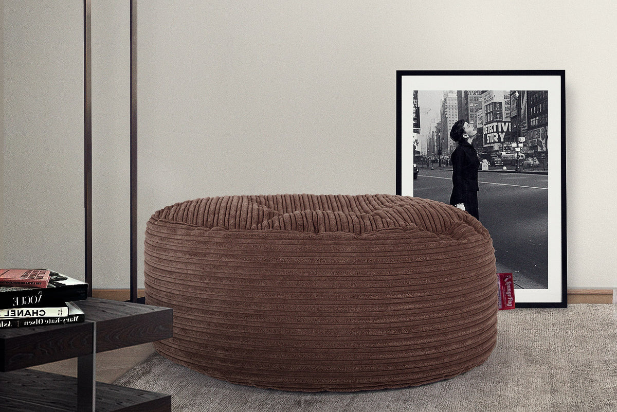Large Round Pouffe - Cord Mocha Brown