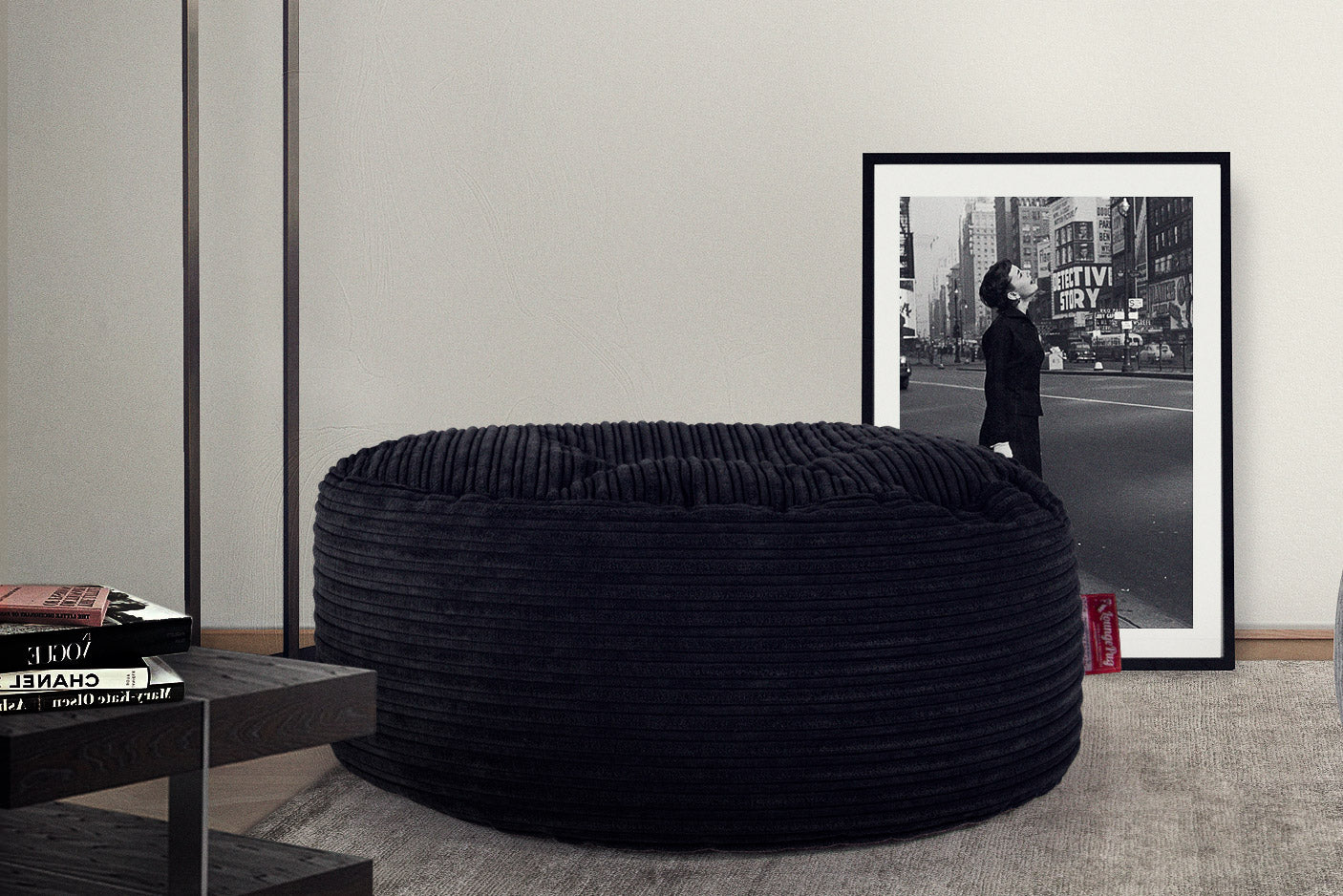 Large Round Pouffe - Cord Black