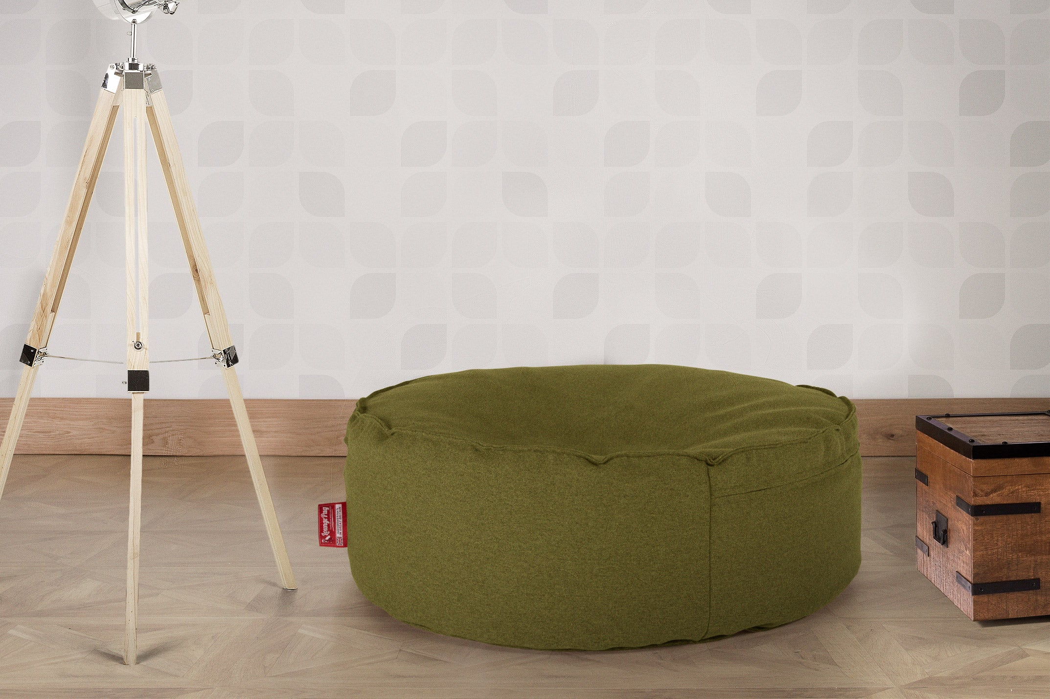 Large Round Pouffe - Interalli Lime Green