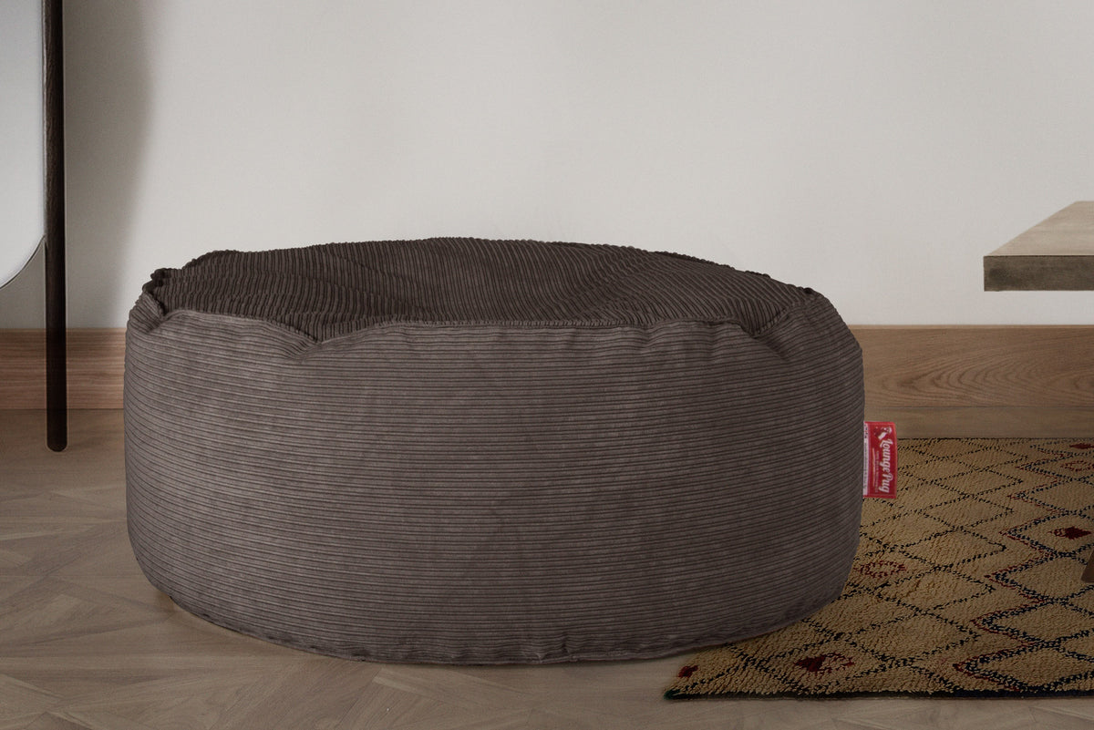Large Round Pouffe - Pinstripe Graphite Grey