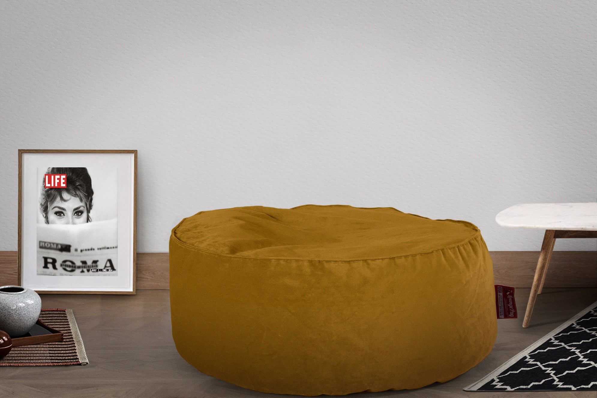 Pouf Design Rond - Velours Or