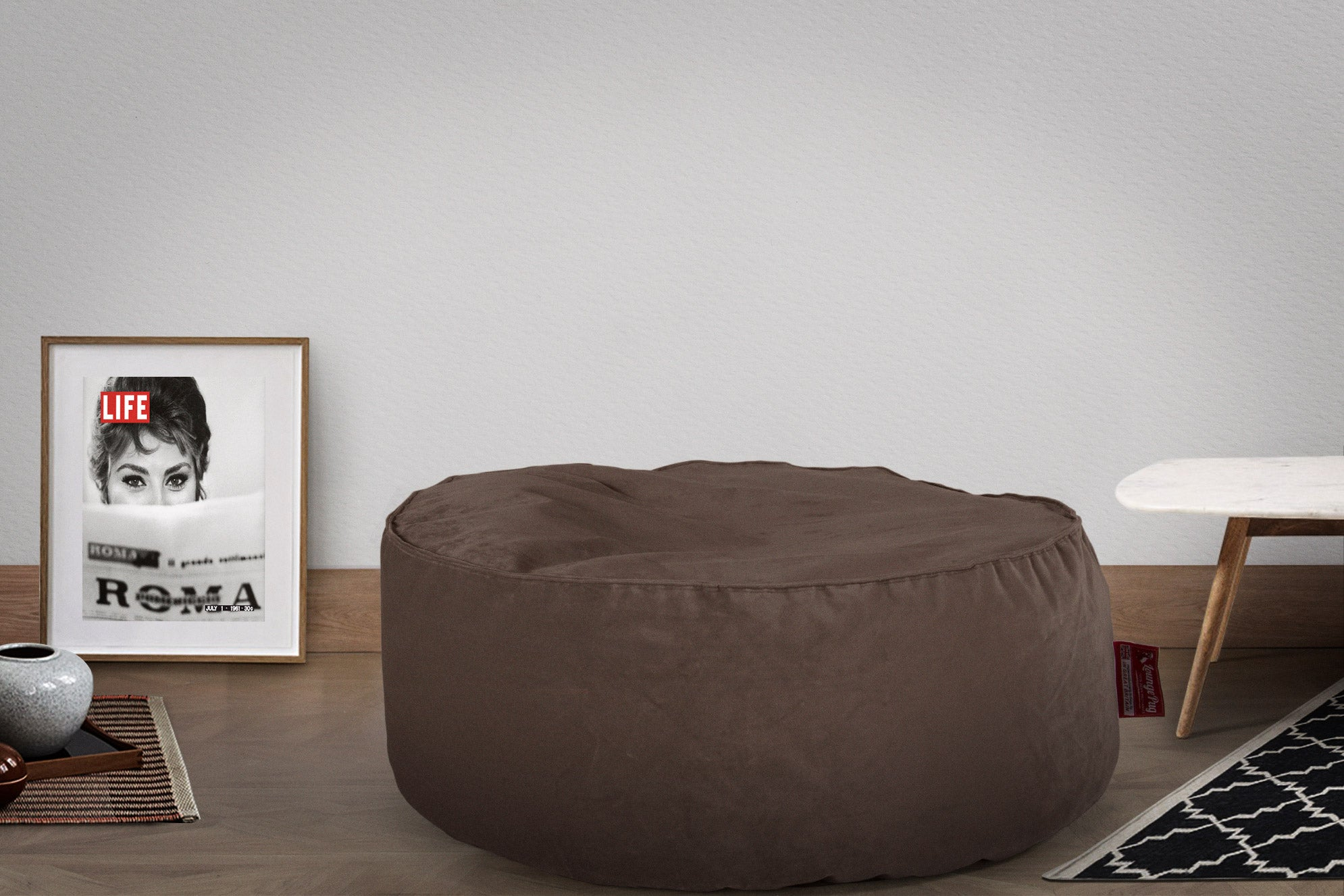 Pouf Design Rond - Velours Anthracite