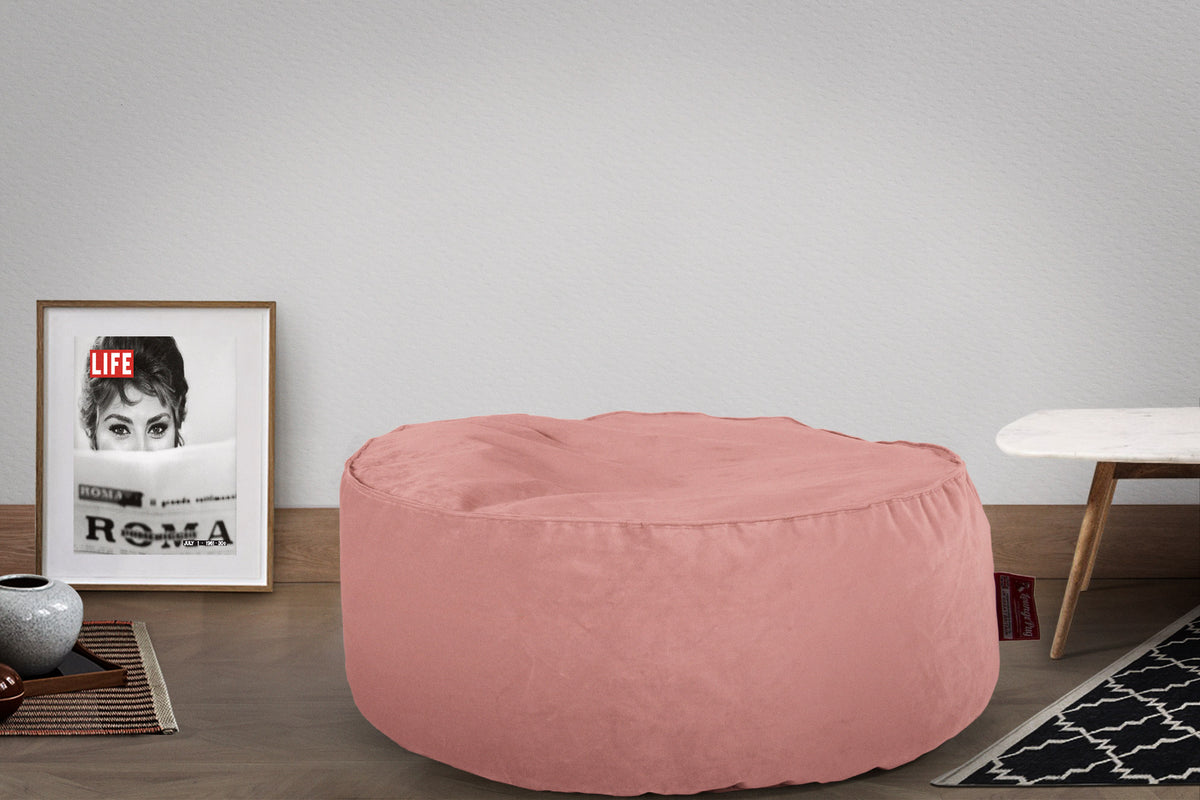 Pouf Design Rond - Velours Rose