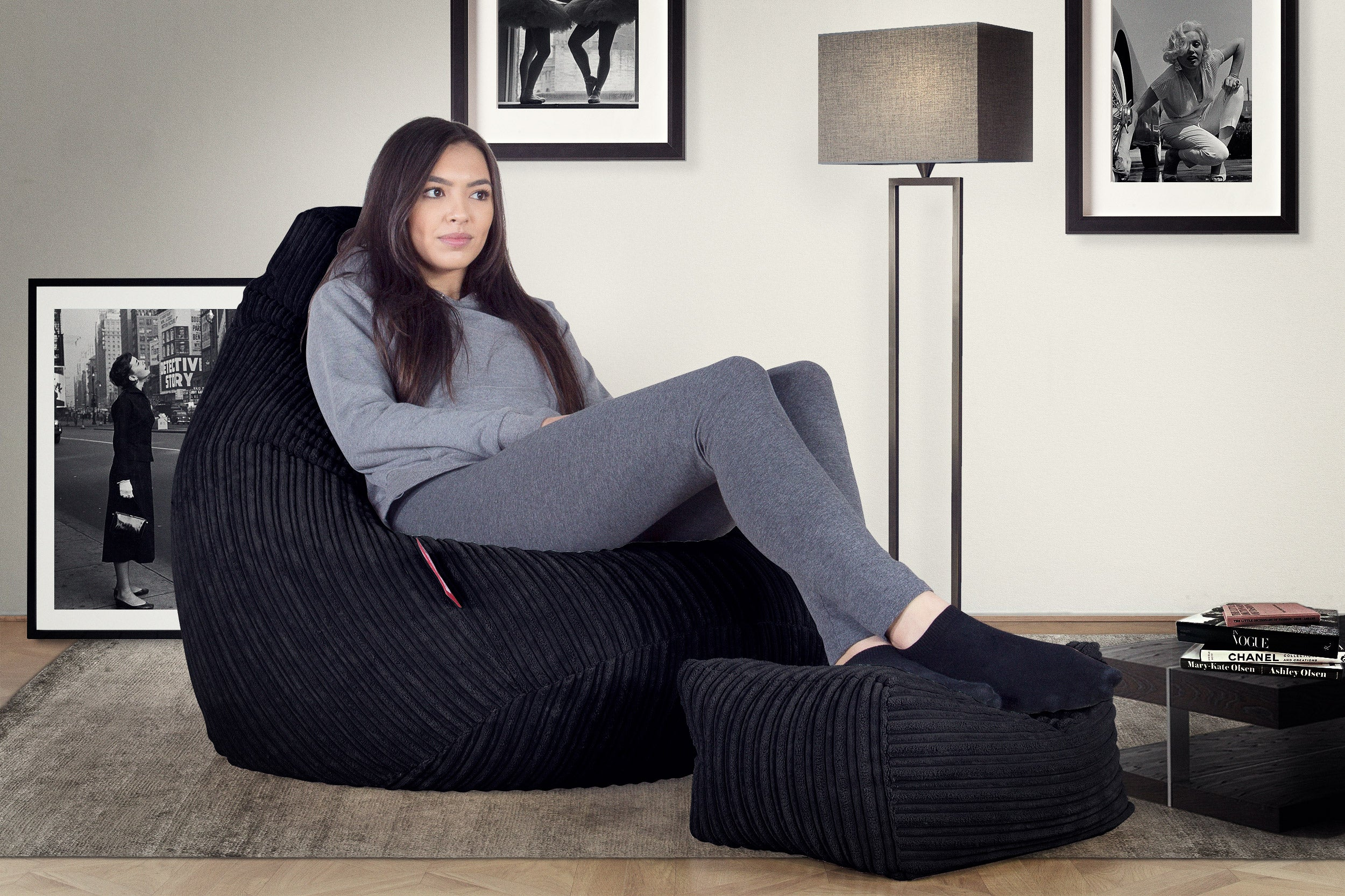 Highback Beanbag Chair - Cord Black