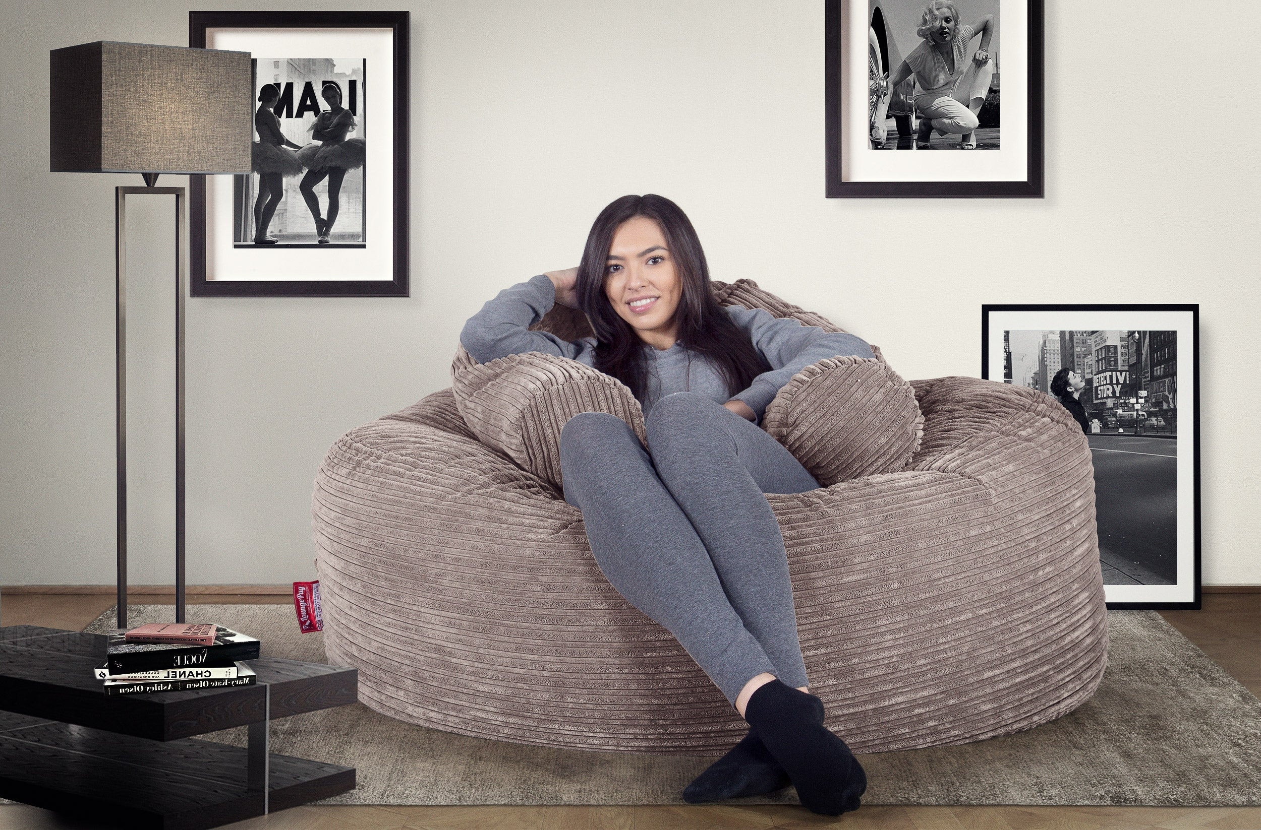 Mammoth Bean Bag Sofa - Cord Mink