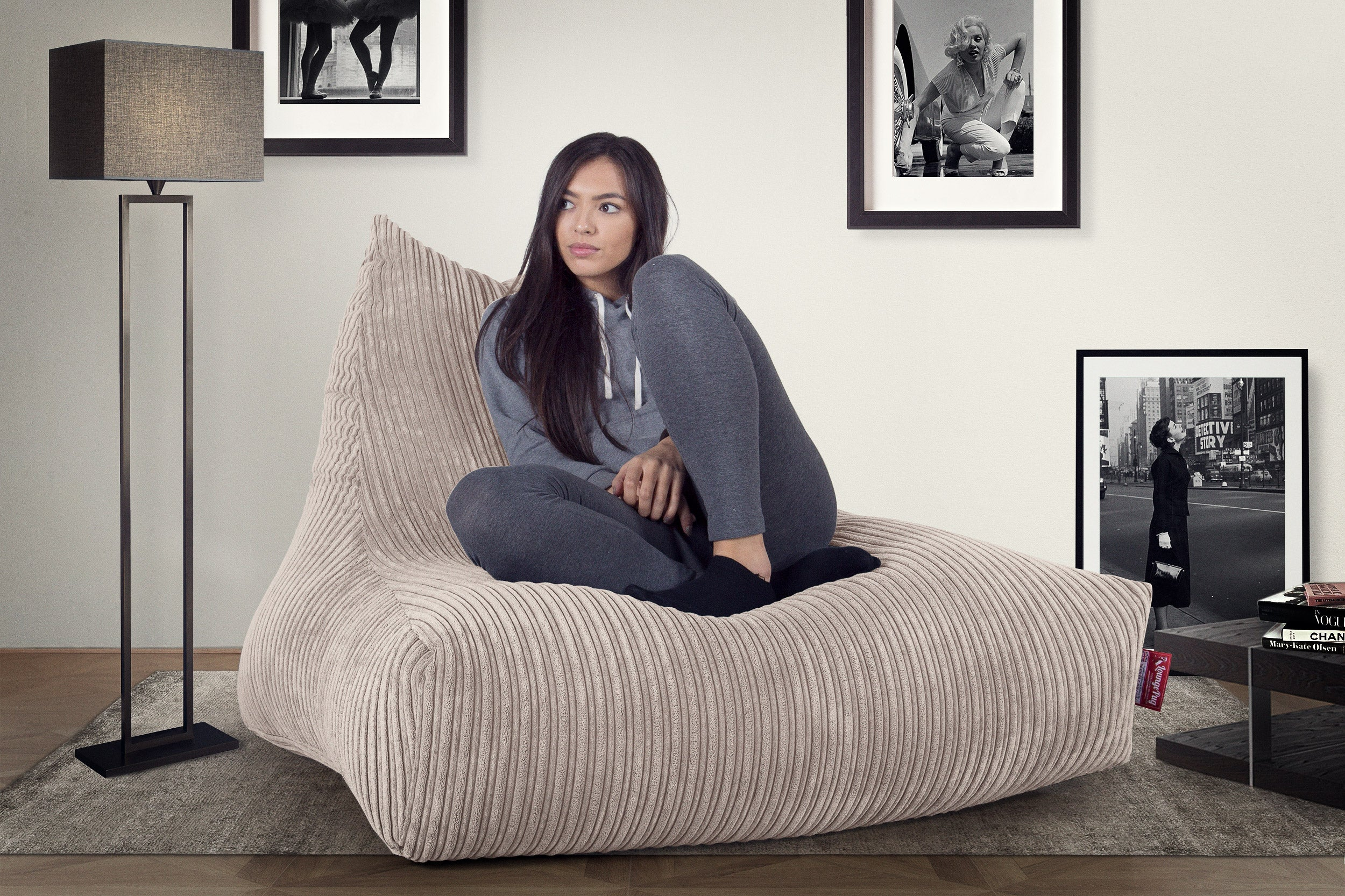Mega Lounger Bean Bag - Cord Ivory