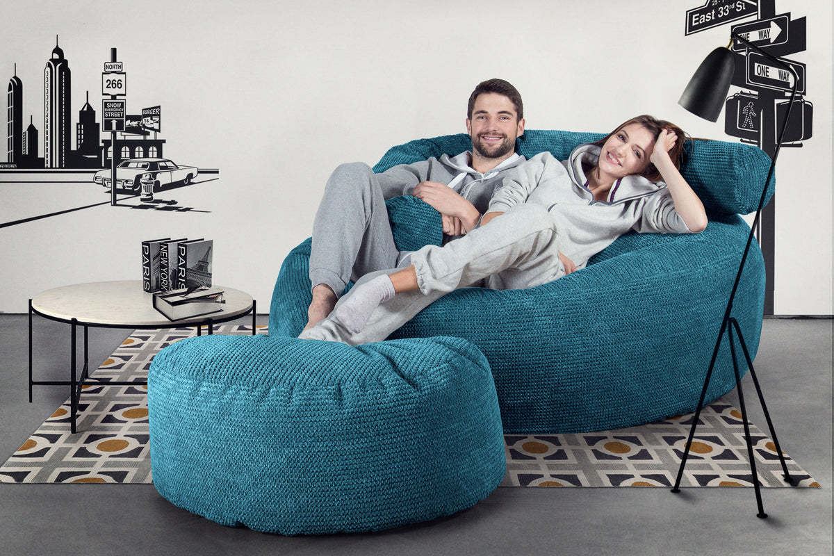 Mega Mammoth Bean Bag Sofa - Pom Pom Aegean Blue