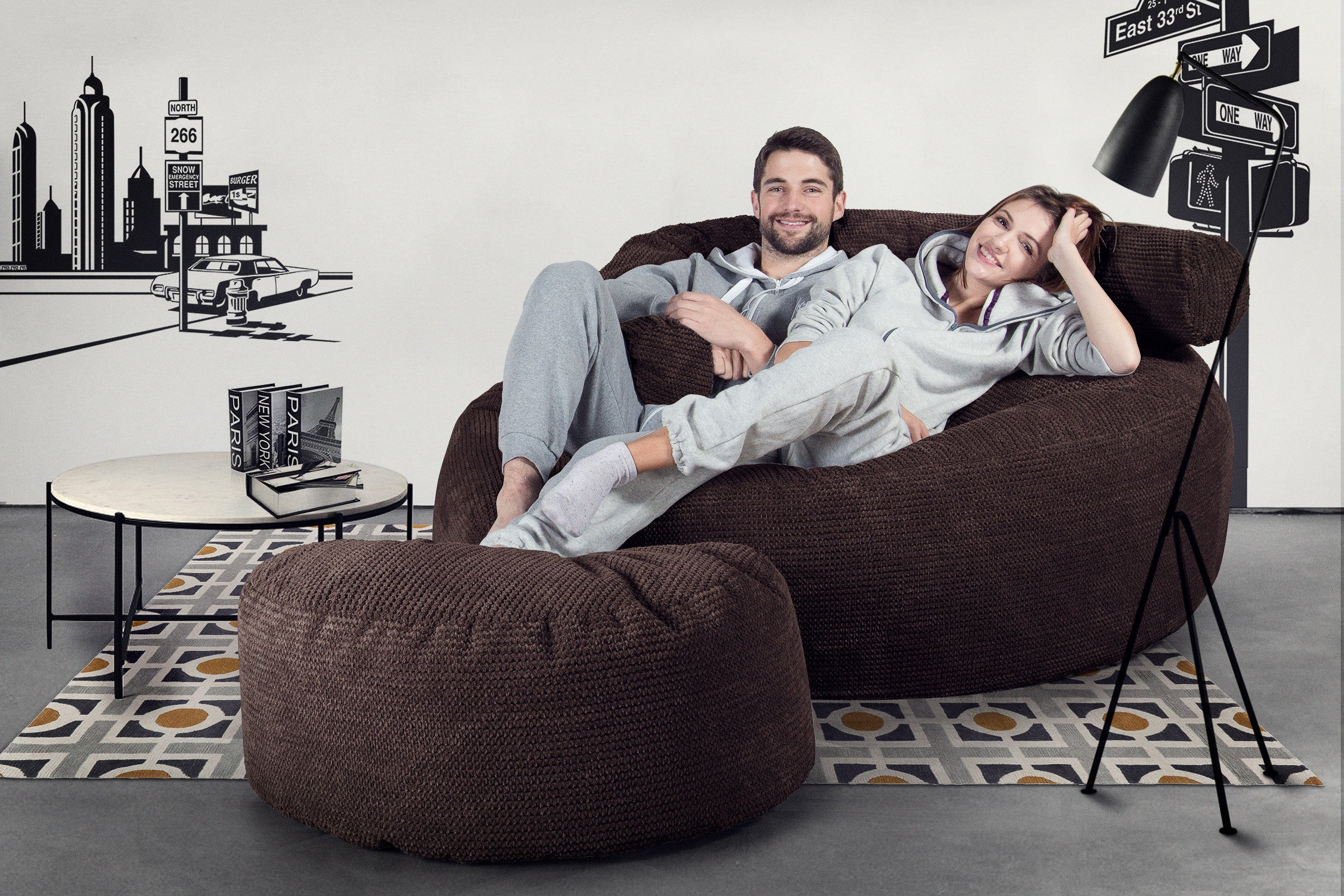 Mega Mammoth Bean Bag Sofa - Pom Pom Chocolate Brown