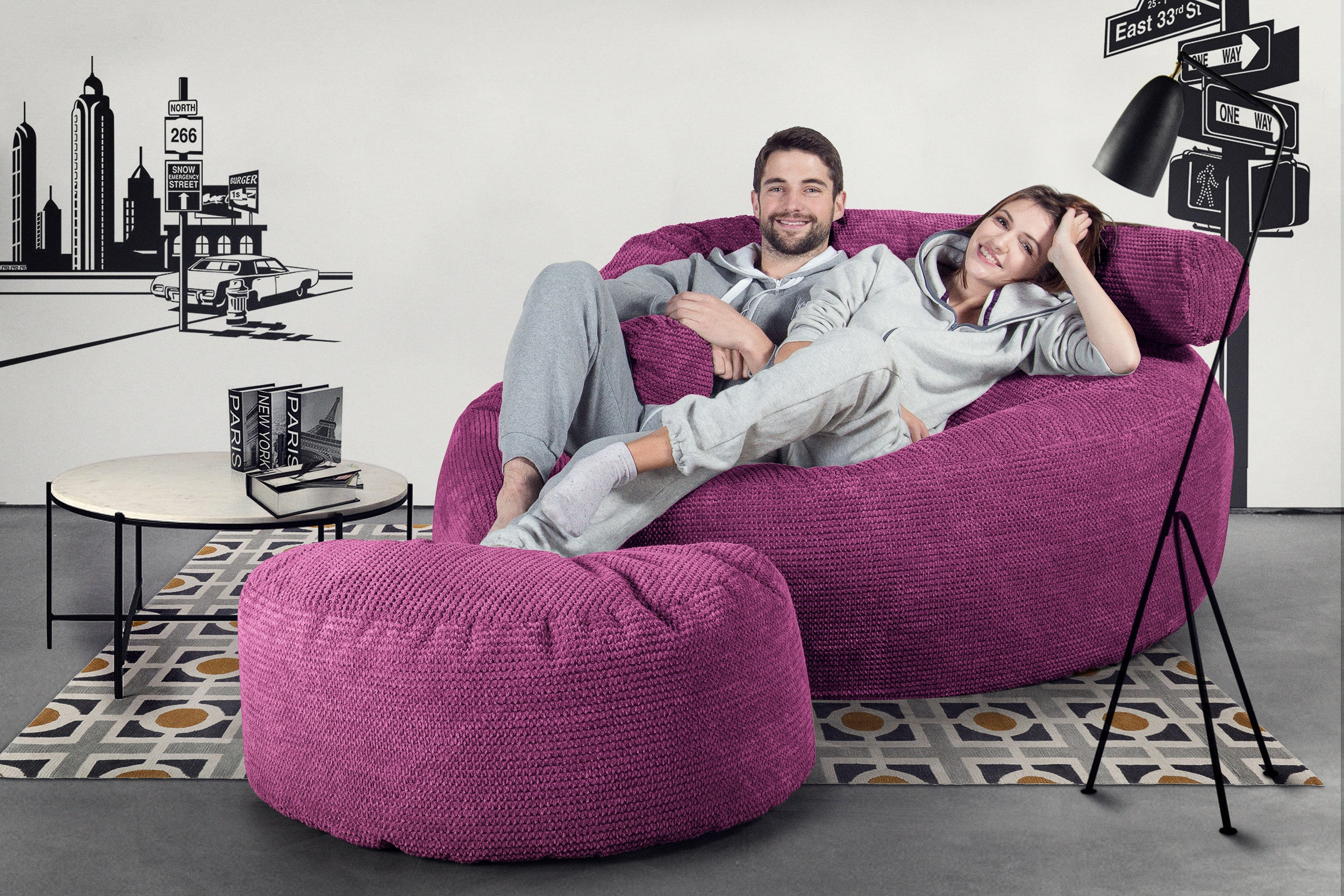 Mega Mammoth Bean Bag Sofa - Pom Pom Pink