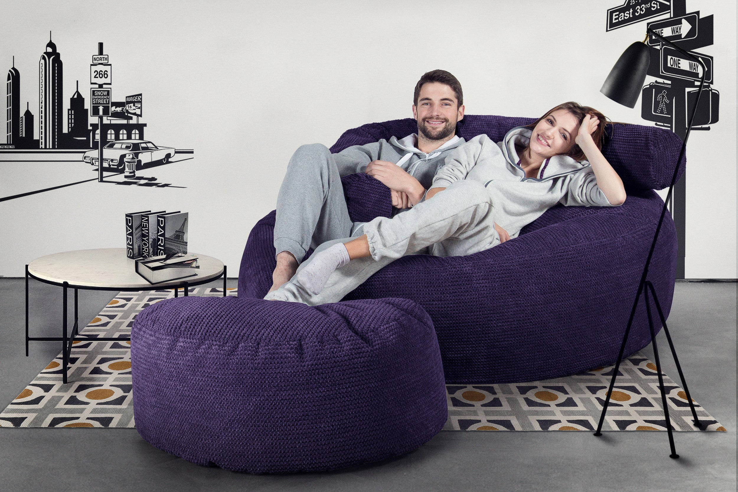 Mega Mammoth Bean Bag Sofa - Pom Pom Purple