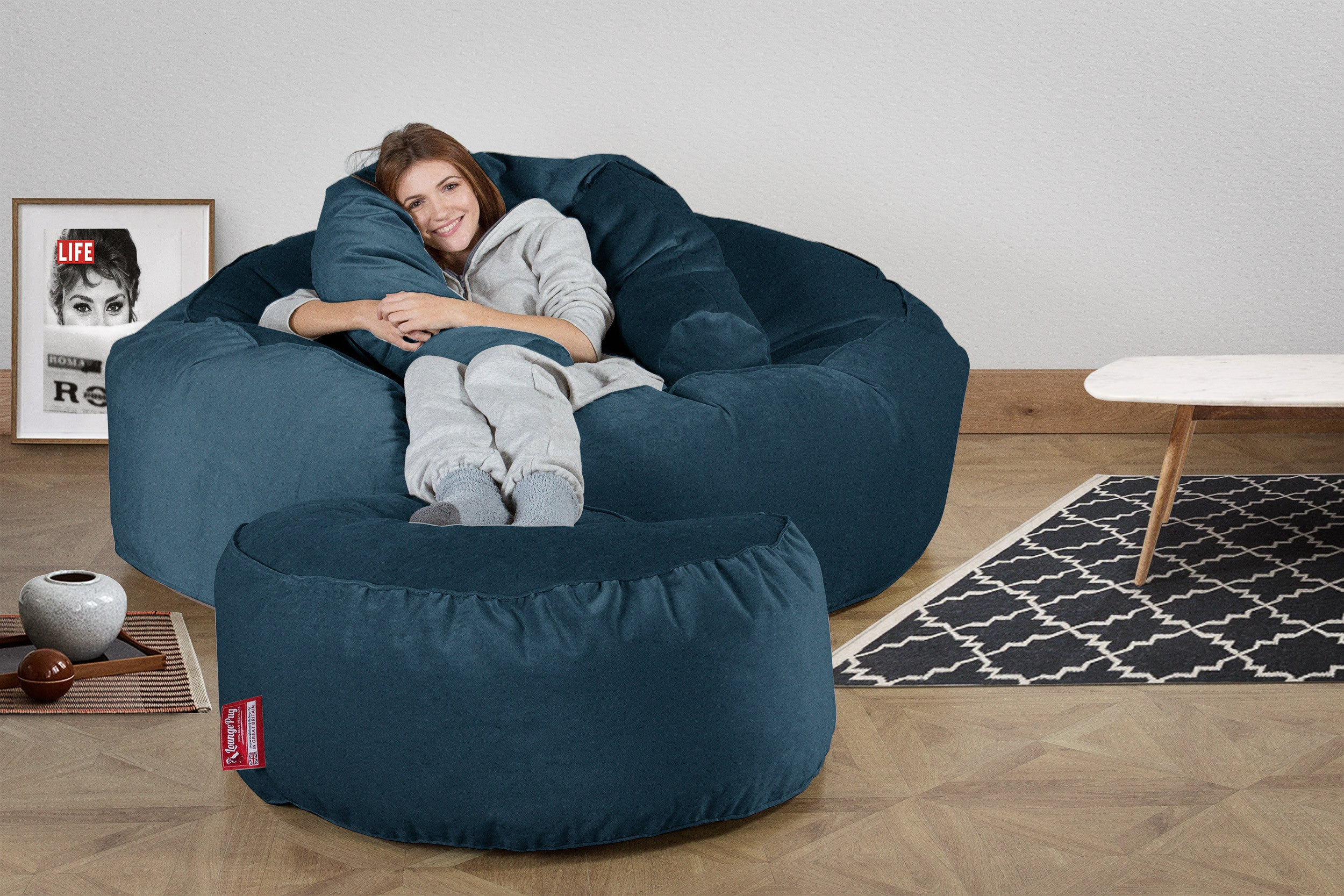 Mega Mammoth Bean Bag Sofa - Velvet Midnight Blue