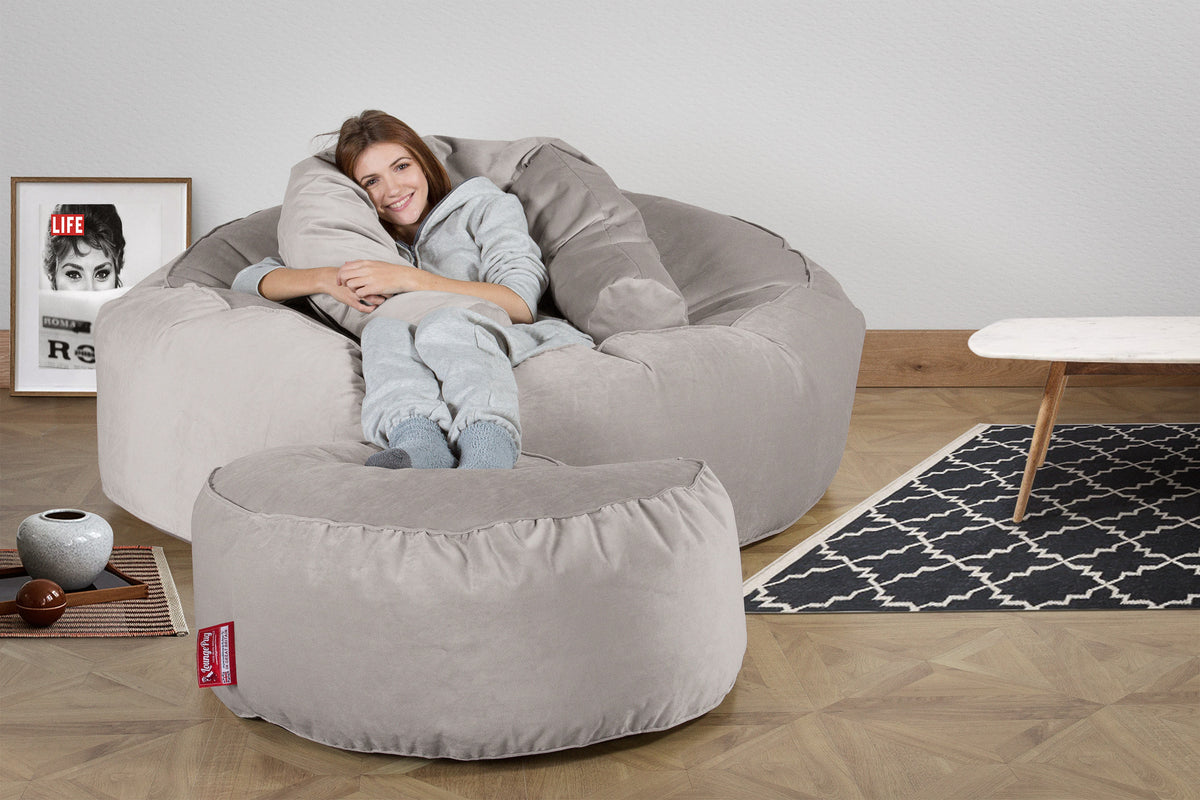 Mega Mammoth Bean Bag Sofa - Velvet Silver