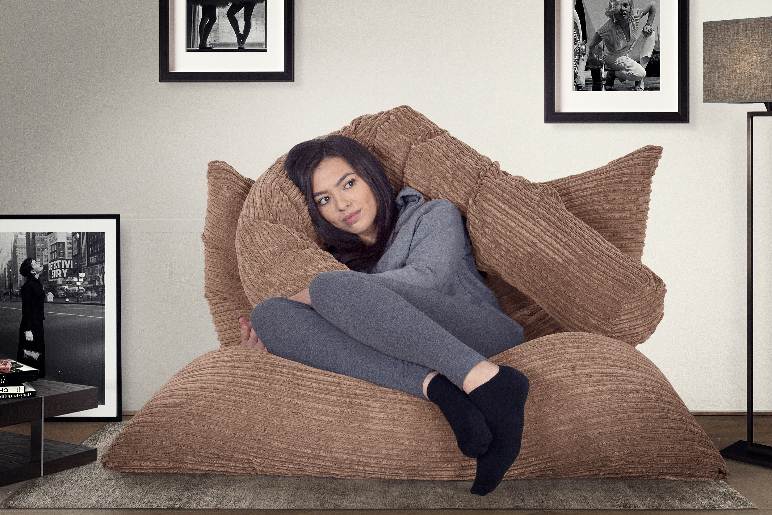 Extra Large Bean Bag - Cord Sand