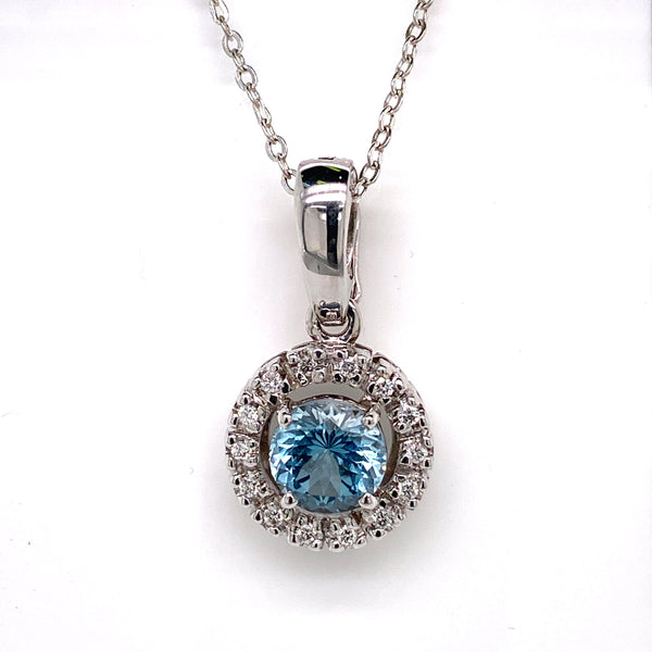 9CT White Gold Topaz and Diamond Pendant