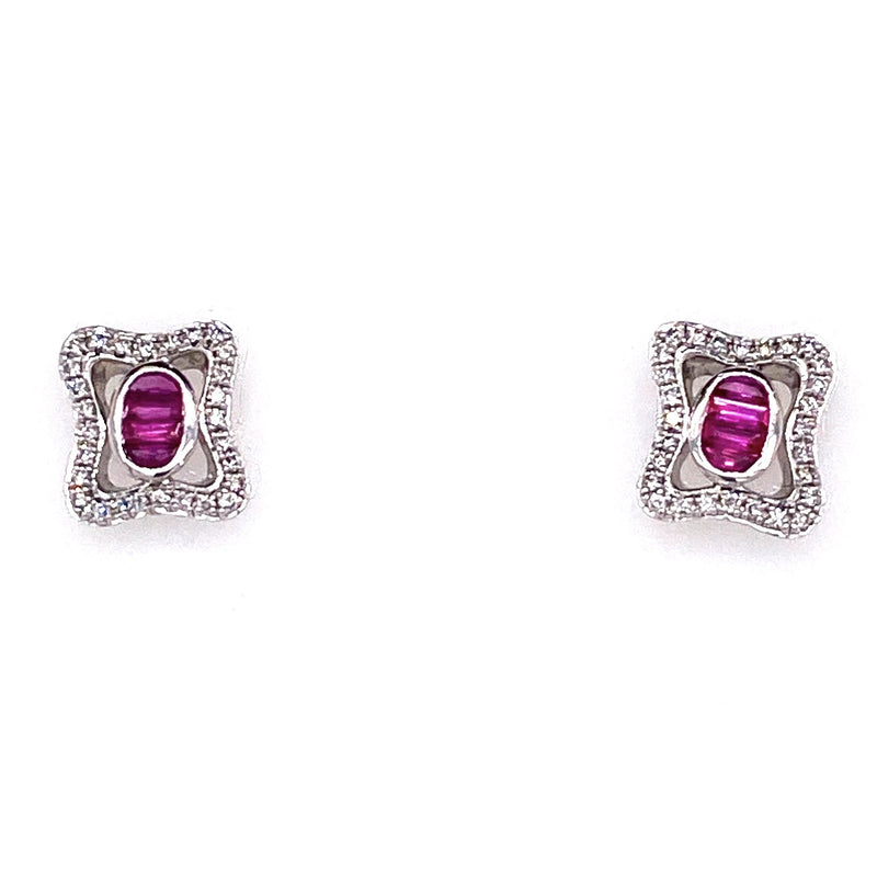 9CT White Gold Ruby Earrings