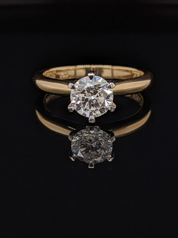 1.05ct Round Brilliant Diamond 6 claw Solitaire Engagement Ring Set in 18ct Yellow Gold & Platinum