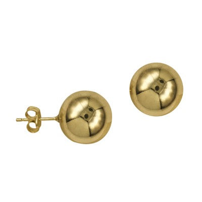 9ct Yellow Gold 12mm Ball Stud Earrings
