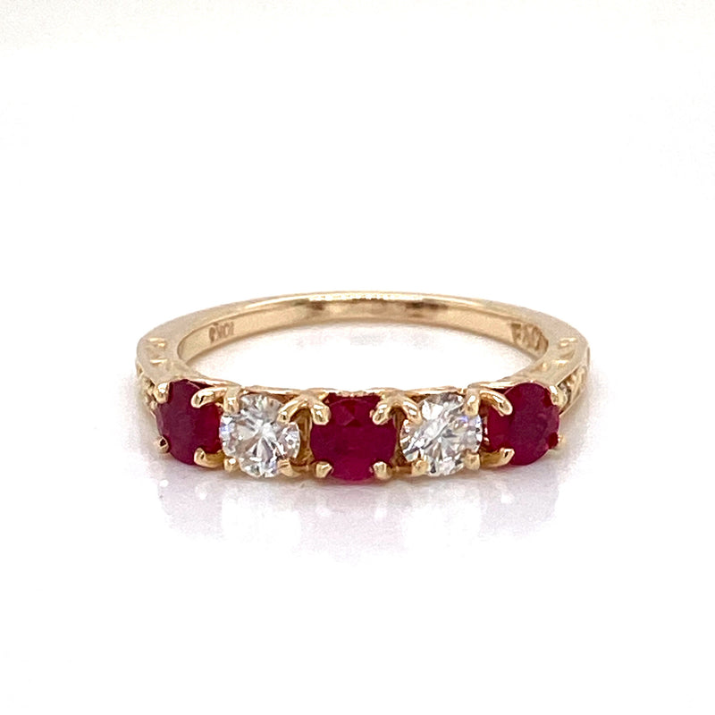 10CT Yellow Gold Ruby & Diamond Ring