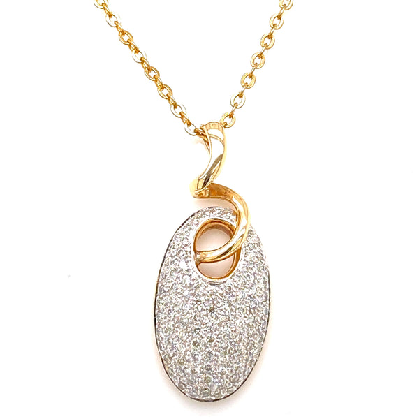 9CT Yellow Gold Pave Set Diamond Pendant