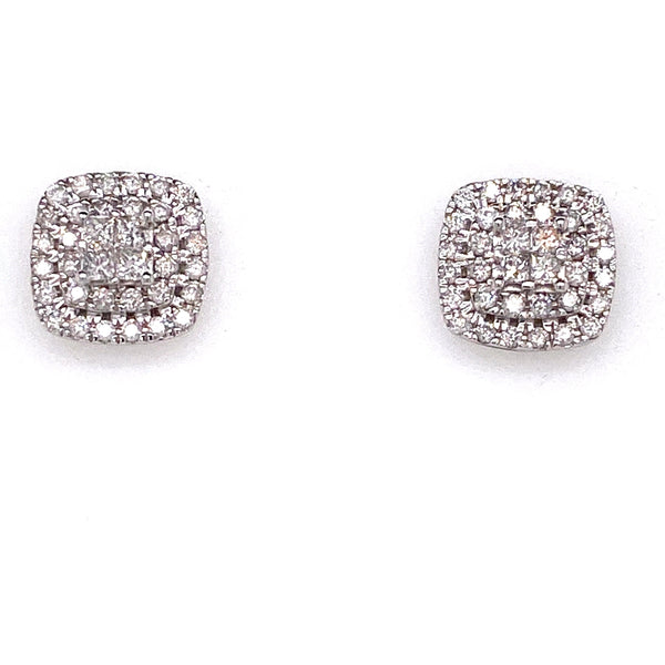 10ct White Gold Diamond Stud Earrings