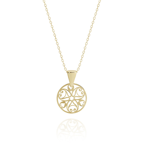 9Ct Gold Filigree Pendant On Chain