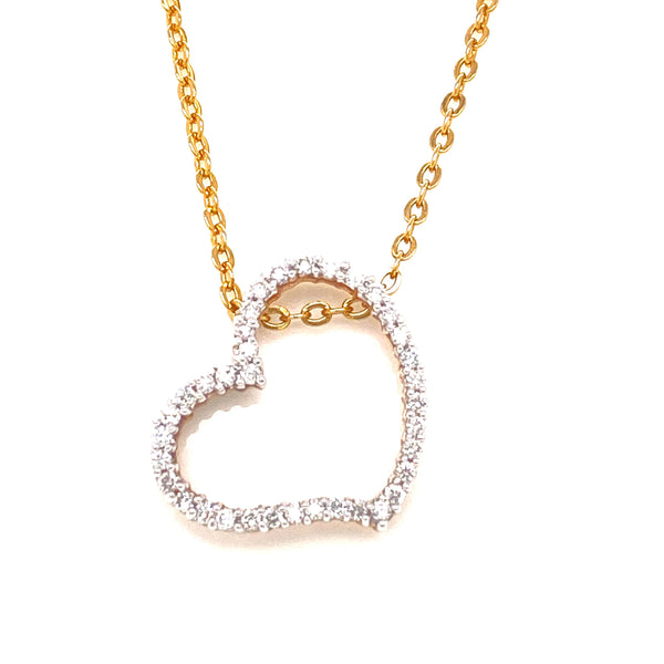 9CT Yellow Gold Diamond Set Heart Pendant