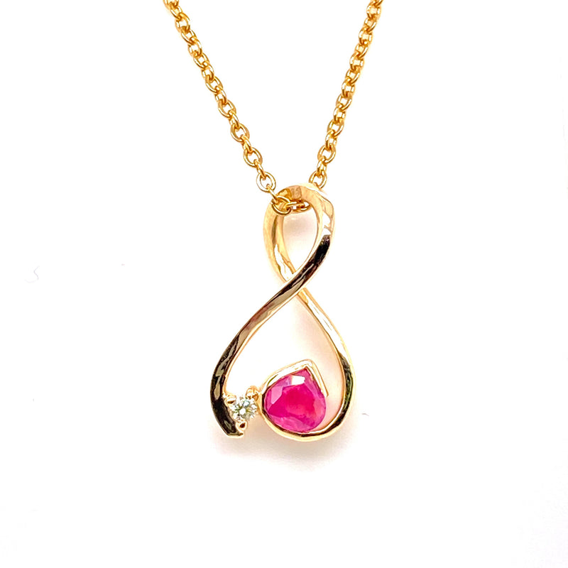 9CT Yellow Gold Ruby and Diamond Infinity Pendant