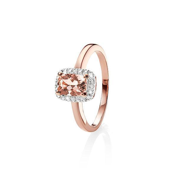 9Ct Rose Gold Cushion Cut Morganite & Diamond Halo Ring